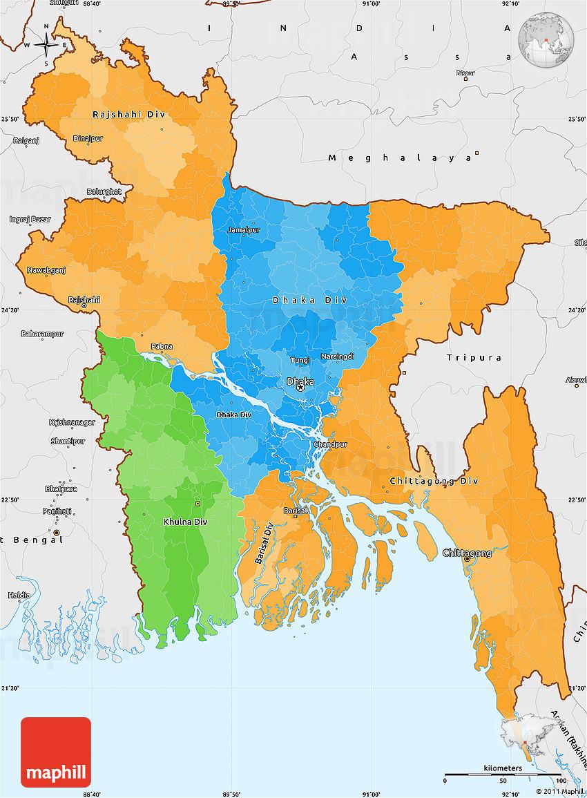 Political Simple Map Of Bangladesh Single Color Outside