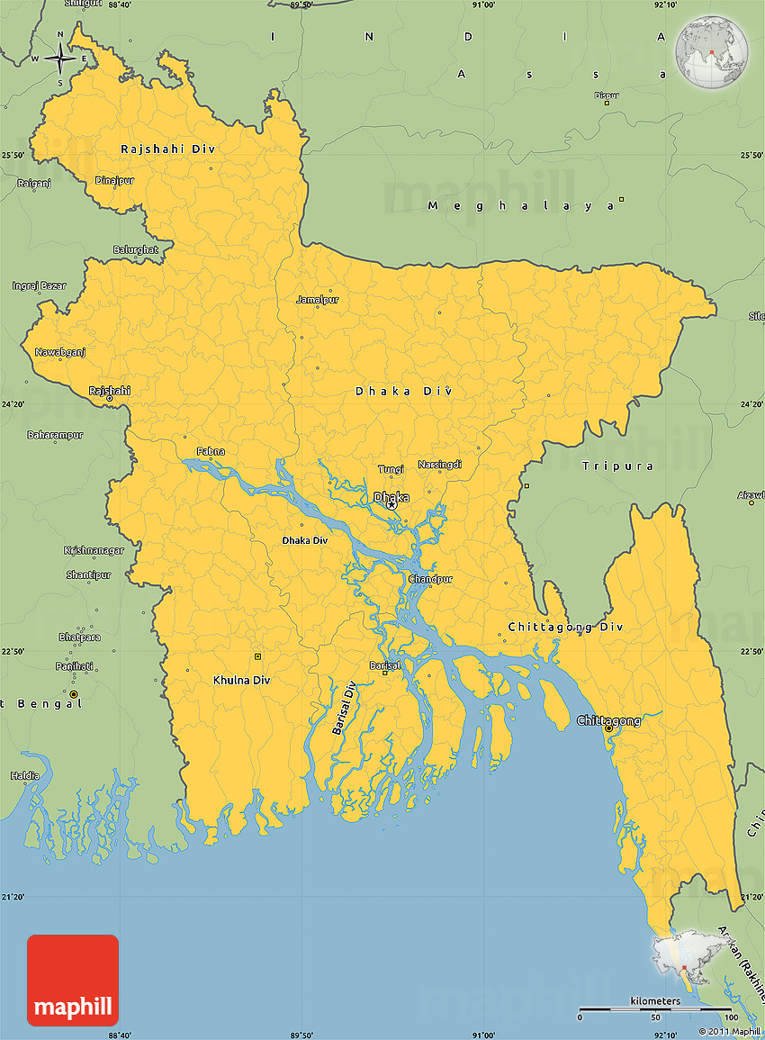 Savanna Style Simple Map Of Bangladesh