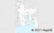 Silver Style Simple Map of Bangladesh