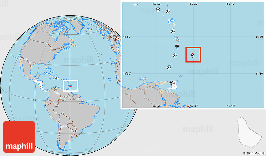 Gray Location Map of Barbados highlighted continent