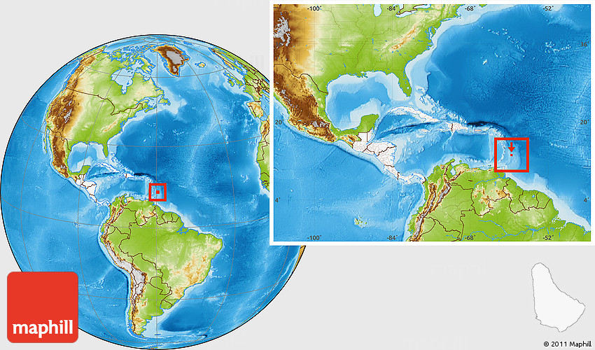 Physical Location Map of Barbados highlighted continent within the