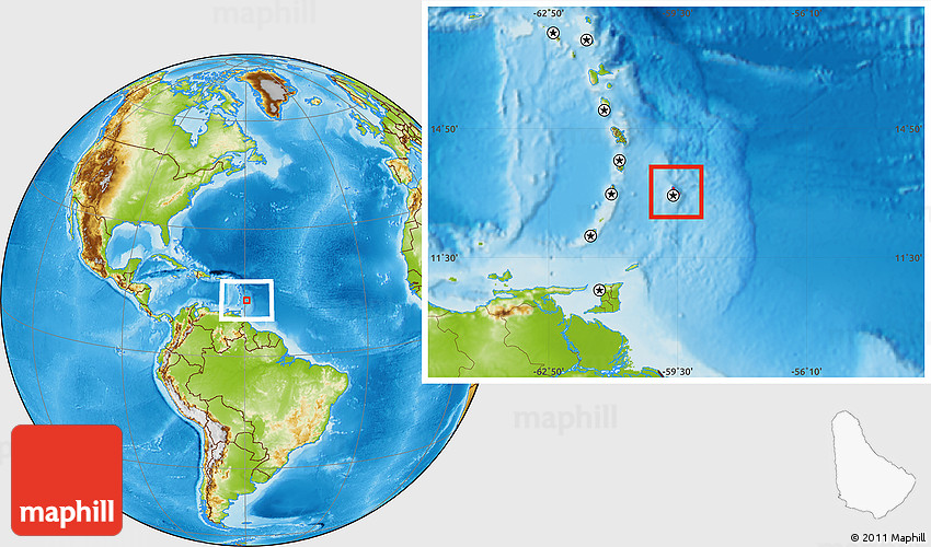 Physical Location Map Of Barbados - Barbados map