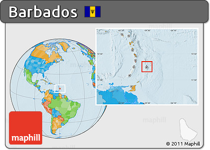 Free Political Location Map of Barbados