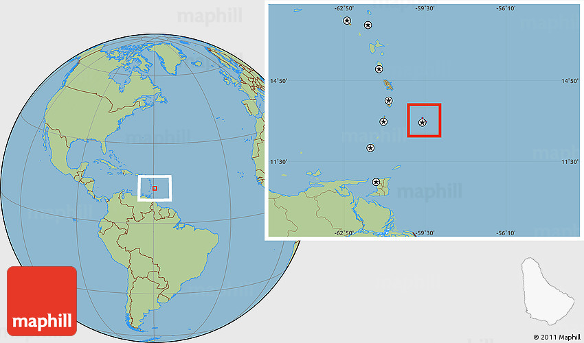 Savanna Style Location Map Of Barbados: Barbados Earth Map At Slyspyder.com