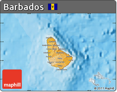Free Political Shades Map Of Barbados Satellite Outside - Political map of barbados