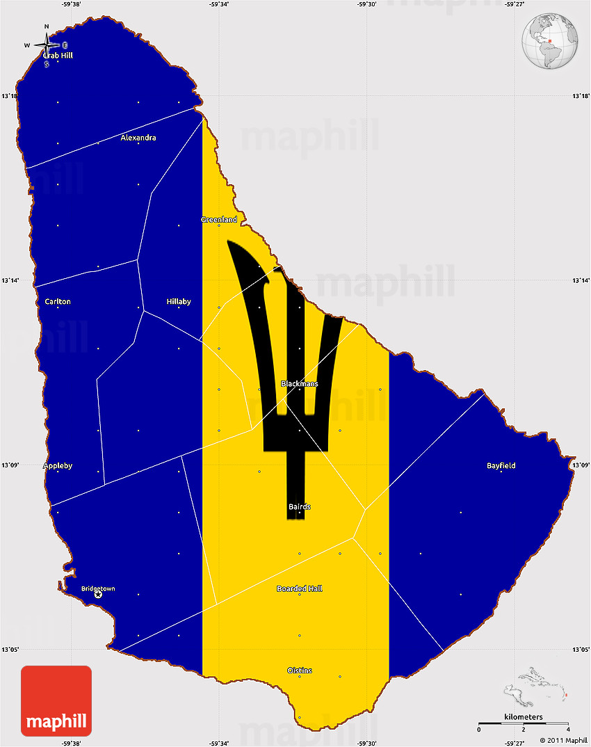 Flag Simple Map of Barbados