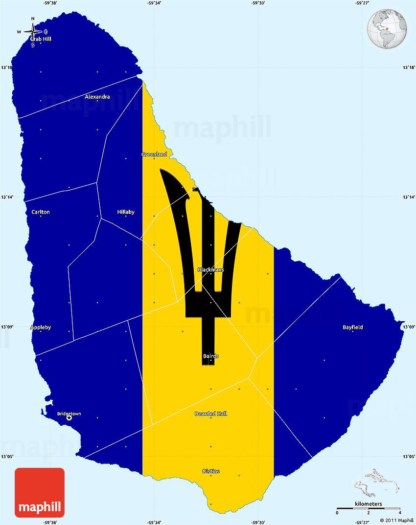 Barbados Flag Tattoo