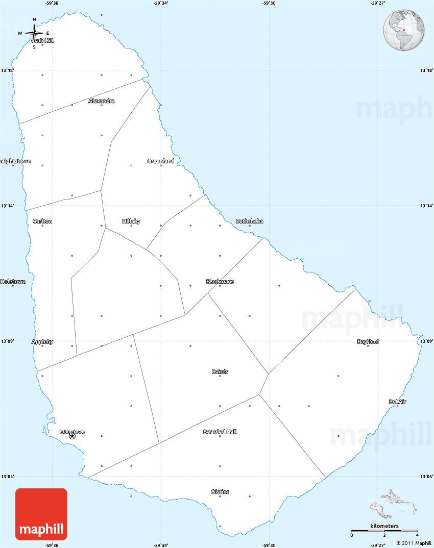 Gray Simple Map Of Barbados