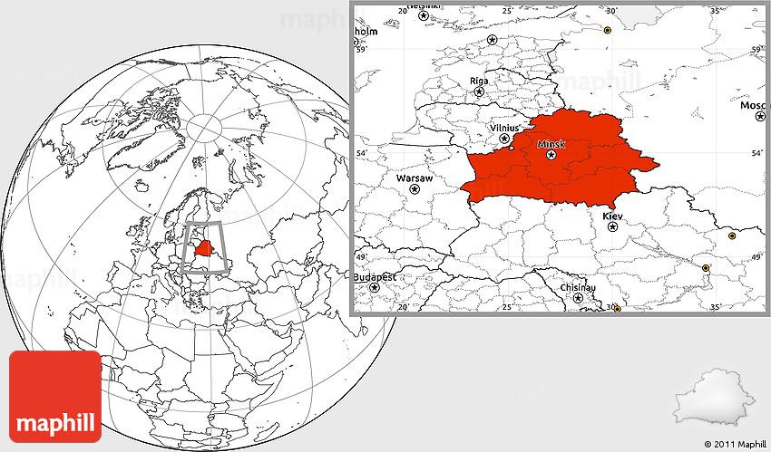 Blank Location Map of Belarus