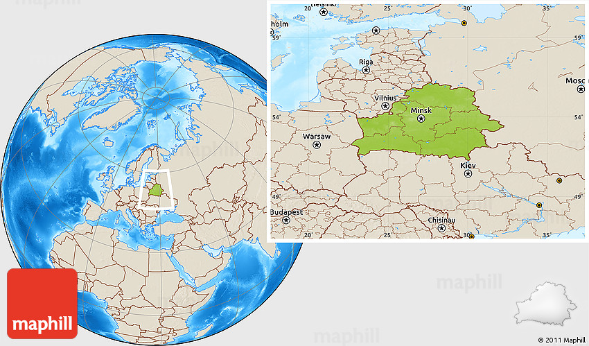 Physical Location Map of Belarus shaded relief outside