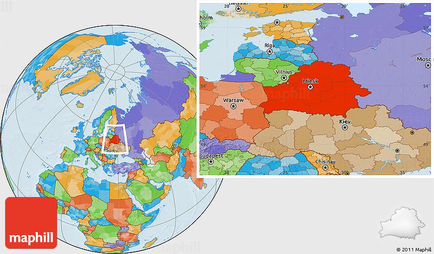 Political Location Map of Belarus