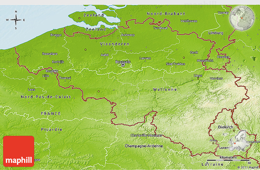 Belgium Topographic Map.Physical 3d Map Of Belgium