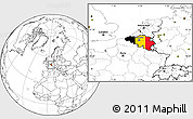 Flag Location Map of Belgium, blank outside