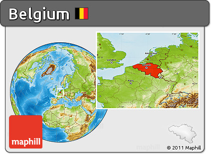 Physical Location Map of Belgium