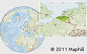 Physical Location Map of Belgium, lighten