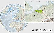 Physical Location Map of Belgium, lighten, semi-desaturated
