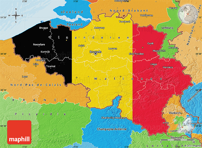 flag map of belgium political outside