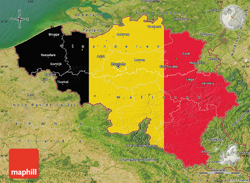 Flag Map of Belgium satellite outside – Belgium on a Map
