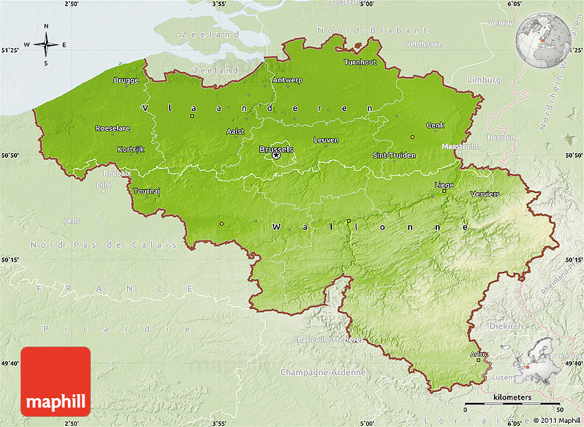 Physical Map of Belgium lighten