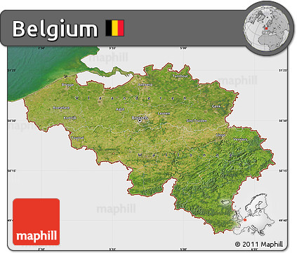 Satellite Map of Belgium, single color outside