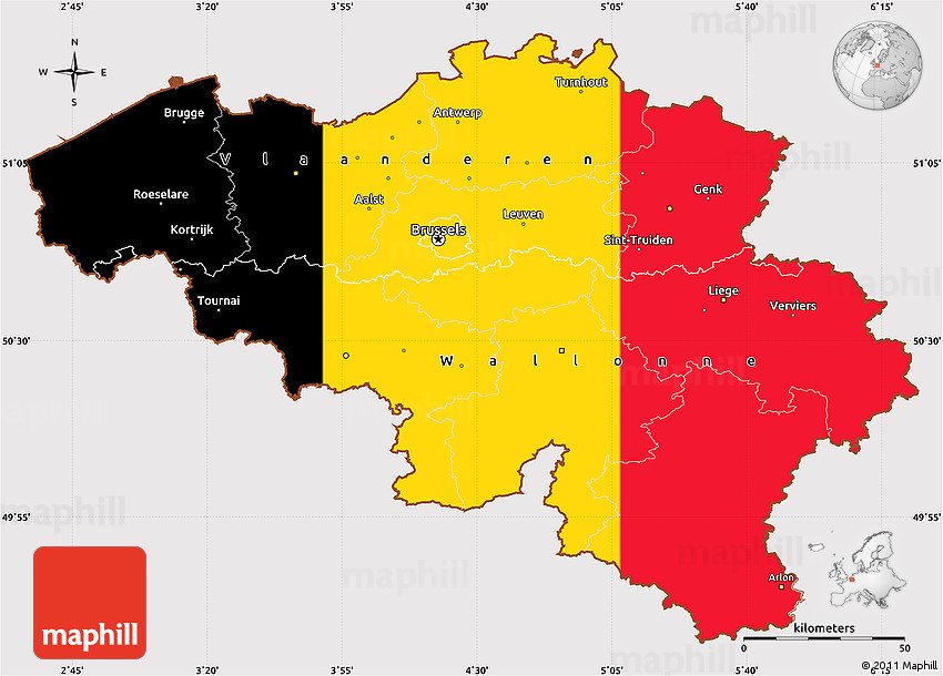 Flag Simple Map of Belgium