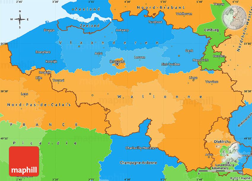 political simple map of belgium
