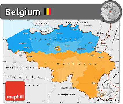 Free Political Simple Map of Belgium single color outside borders