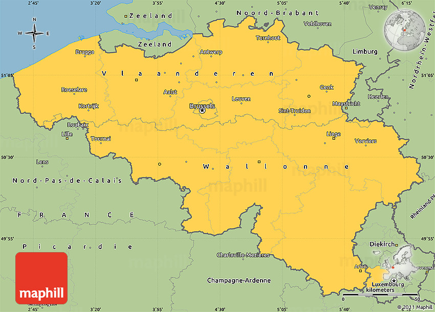 Savanna Style Simple Map of Belgium – Map of Belguim