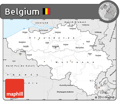 Silver Style Simple Map of Belgium