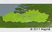 Physical 3D Map of Vlaanderen, darken