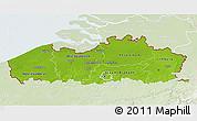 Physical 3D Map of Vlaanderen, lighten
