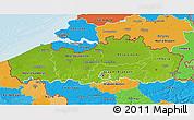 Physical 3D Map of Vlaanderen, political outside