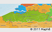 Physical 3D Map of Vlaanderen, political shades outside