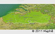 Physical 3D Map of Vlaanderen, satellite outside