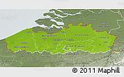 Physical 3D Map of Vlaanderen, semi-desaturated