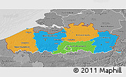 Political 3D Map of Vlaanderen, desaturated