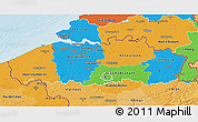 Political 3D Map of Vlaanderen, political shades outside