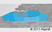 Political Shades 3D Map of Vlaanderen, desaturated