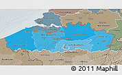 Political Shades 3D Map of Vlaanderen, semi-desaturated