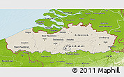 Shaded Relief 3D Map of Vlaanderen, physical outside