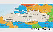 Shaded Relief 3D Map of Vlaanderen, political outside