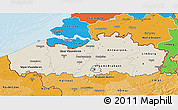 Shaded Relief 3D Map of Vlaanderen, political shades outside