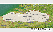 Shaded Relief 3D Map of Vlaanderen, satellite outside
