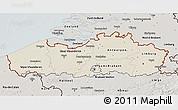 Shaded Relief 3D Map of Vlaanderen, semi-desaturated