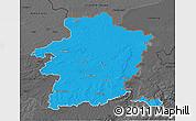 Political 3D Map of Limburg, darken, desaturated
