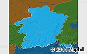 Political 3D Map of Limburg, darken