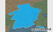 Political 3D Map of Limburg, darken, semi-desaturated