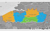 Political Map of Vlaanderen, desaturated
