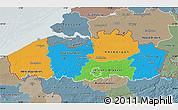 Political Map of Vlaanderen, semi-desaturated