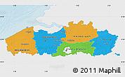 Political Map of Vlaanderen, single color outside